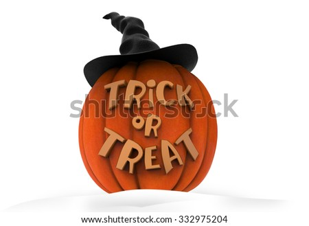Scary Jack O Lantern halloween pumpkin wearing black witch hat, isolated on white background, 3d render - stock photo