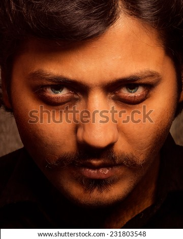 scary looking man - stock photo