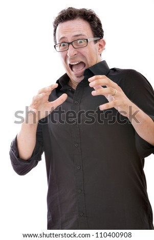 scary man expression - stock photo