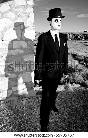 Scary Man in the Desert - stock photo