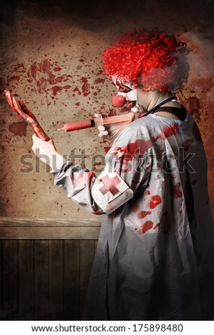 Scary medical clown injecting horror into an amputated limb when practising a vaccination clinical trial