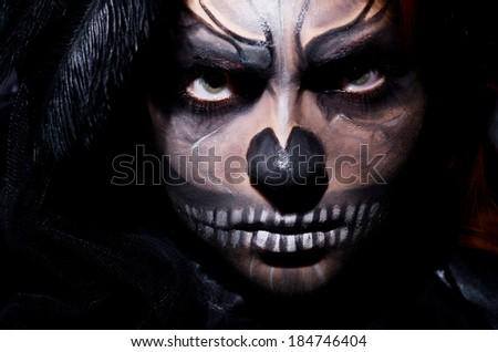 Scary monster in dark room - stock photo