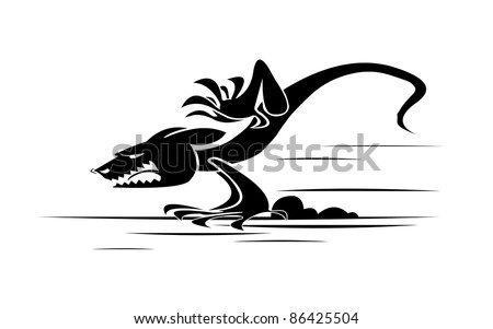 Scary monster running fast with open mouth - stock photo