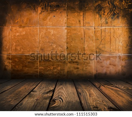 Scary Mosaic Room Gold Background With Wood Floor