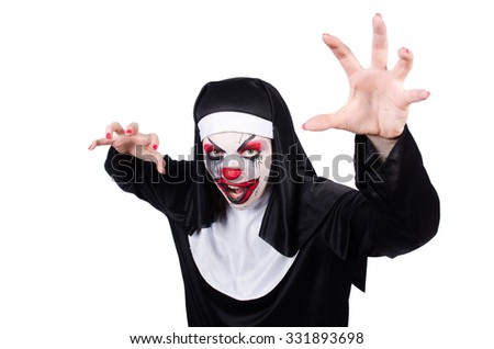 Scary nun in halloween concept - stock photo