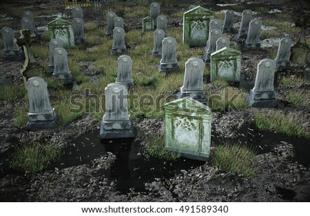 Scary Old Cemetery Old Church On Stock Illustration 491589340 ...