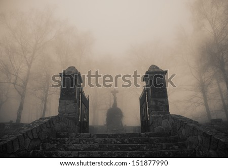 Scary old  entrance to forest graveyard in dense fog - stock photo
