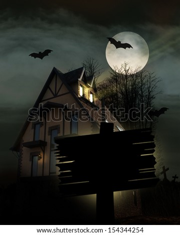 Scary place with house, trees and moon,halloween background. - stock photo