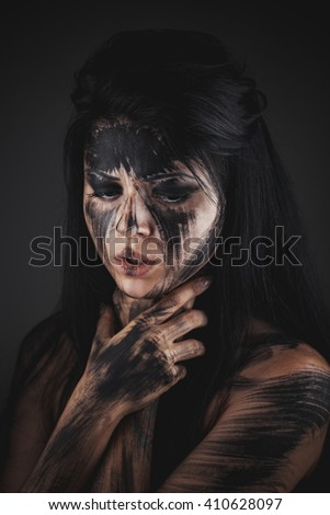 Scary portrait of the woman. Self-damage, self-destruction, suicide idea