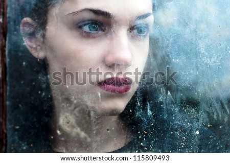 scary portrait of young beautiful woman
