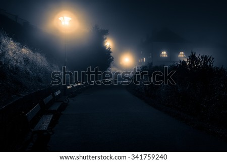 Scary scenery with night footpath leading towards lone house - stock photo
