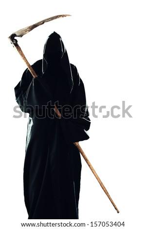 scary scytheman isolated - stock photo