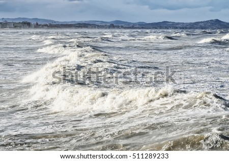 scary sea with  big waves