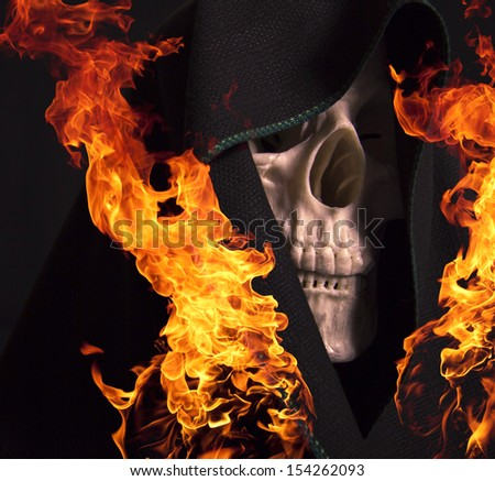 Scary skull and flames of fire.