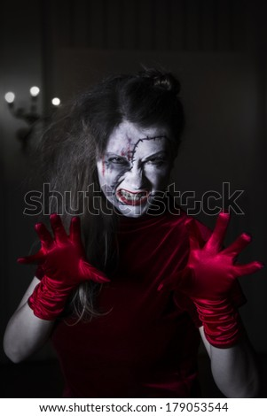 Scary zombie woman - stock photo