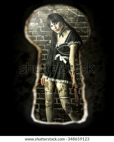 Scary zombie woman with bloody axe in old room - view of the keyhole of the door