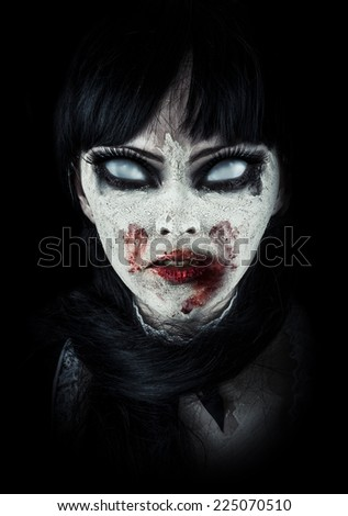 Scary zombie woman  with white eyes and bloody mouth