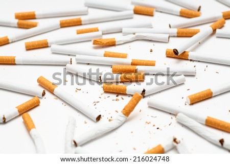 Scattered cigarettes close-up.