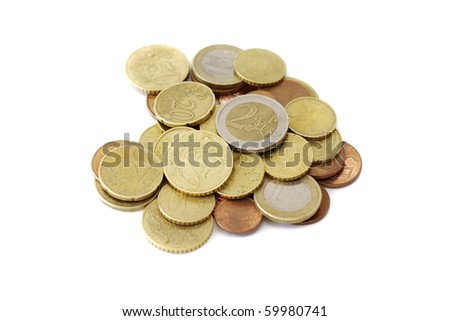 scattered coins on white background