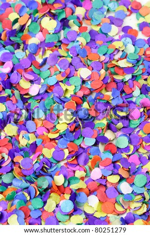 Scattered confetti, background. - stock photo