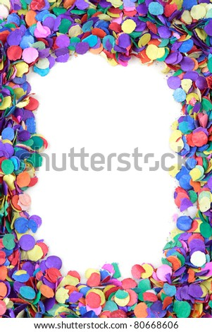 Scattered confetti frame, background with copy space. - stock photo