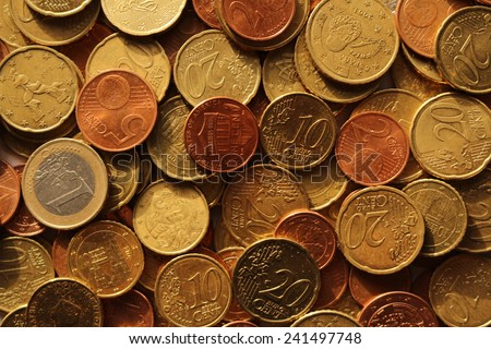Scattered euro coins - stock photo