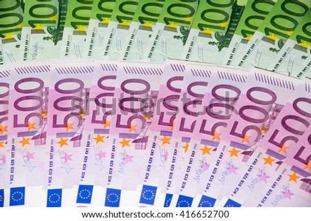 Scattered euro currency banknotes, closeup view - stock photo