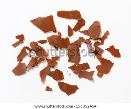 scattered flakes of chocolate - stock photo