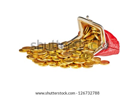 Scattered  gold coins are in  red purse, isolated on white background and dice cube with the word Sell - stock photo