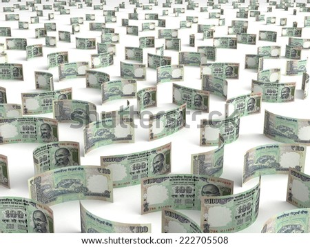 Scattered Indian Rupee - stock photo