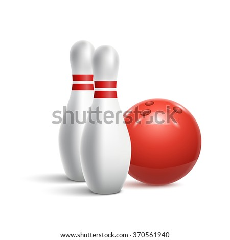 Scattered skittle and bowling ball. illustration - stock photo