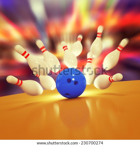 Scattered skittles and bowling ball - stock photo