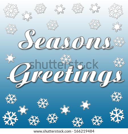 scattered snowflakes on blue background with greeting illustration - stock photo