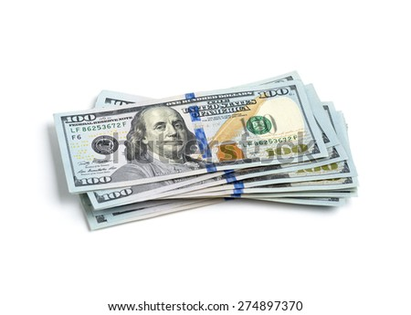 scattered stack of  dollar bills - stock photo