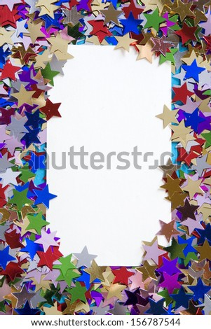 Scattered stars frame, background with copy space.  - stock photo