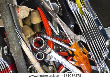 Scattered tools - stock photo