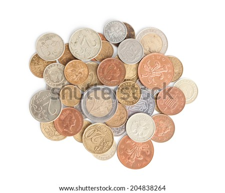 Scattering silver and gold coins, isolated on white background. A great number of coins symbolize wealth, richness, income and profit. Close up shot. - stock photo