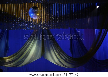 Scene background curtains illuminated with color lights - stock photo
