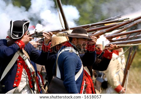 Scene from American Revolution battle re enactment at Fort George, Niagara On The Lake, Ontario, Canada. July 29/2006. The American infantry.