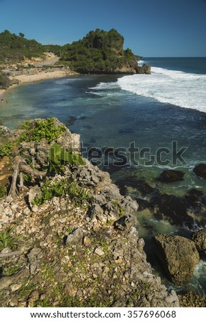 Scene from  the beach Nguyahan, Yogyakarta, Java, Indonesia - stock photo