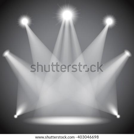 Scene illumination, transparent effects on dark  background. Bright lighting with spotlights, floodlights, projectors. Raster version - stock photo
