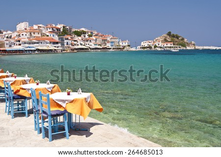 Scene in Kokkari on Samos, Greece