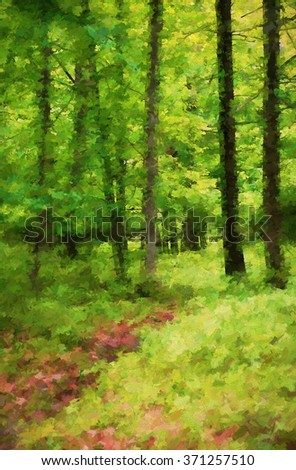 Scene of a pathway through the vibrant green summer woods of the Poconos in Pennsylvania - transformed into a colorful abstract painting - stock photo