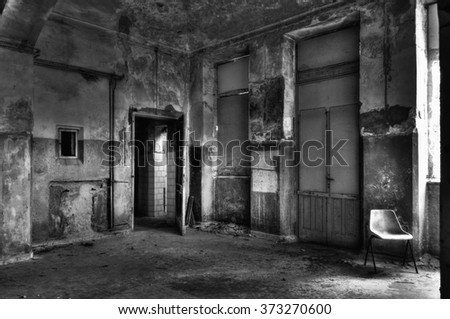 scene of abandoned asylum - stock photo