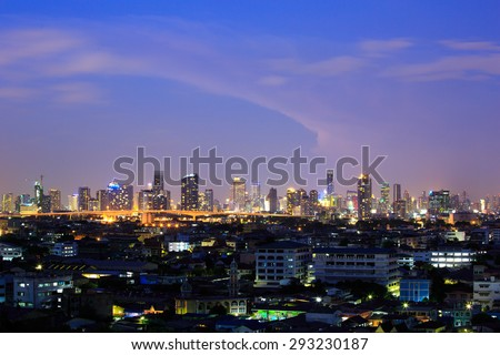 Scene of Bangkok, capital city of Thailand at twilight. Taken from distance.
