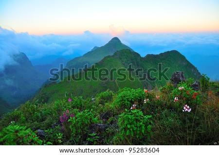 "scene of ""Chiang Dao"" mountain, Thailand - stock photo"