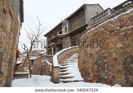 Scene of Chinese old town in snow