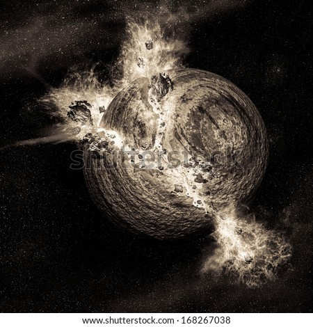 Scene of exploding planet in a space - stock photo