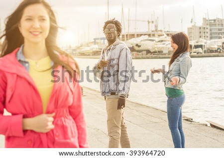 Scene of gelosy- black boyfriend looking his ex girlfriend - stock photo