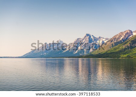 scene of Grand Teton with reflection on the lake,Grand Teton National park,Wyoming,usa.